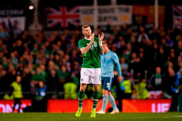 James McClean applauds the supporters as he leaves the pitch. Photo: Seb Daly/Sportsfile