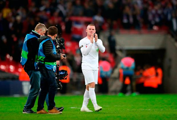 Wayne Rooney says farewell to the fans. Photo: PA