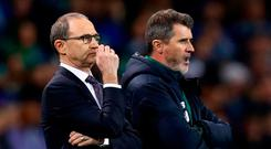 Ireland boss Martin O'Neill and his assistant Roy Keane watch last night's scoreless draw with Northern Ireland at the Aviva Stadium. Photo: Getty Images