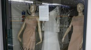 Berketex Bridal's store in the Jervis Centre and the notice in the window
