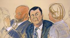 Long case: A sketch of Joaquin 'El Chapo' Guzman, centre, as he sits for opening statements. Photo: AP