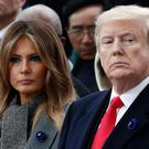 Row: Donald Trump with wife Melania in Paris last weekend for the Armistice Day Centenary ceremony. Photo: AP