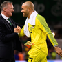 Northern Ireland boss Michael O'Neill shakes hands with Darren Randolph after the game. Photo: Sportsfile