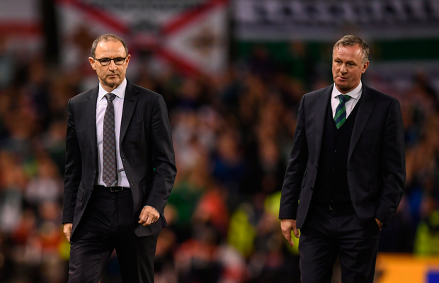 15 November 2018; Republic of Ireland manager Martin O'Neill and Northern Ireland manager Michael O'Neill after the International Friendly match between Republic of Ireland and Northern Ireland at the Aviva Stadium in Dublin. Photo by Stephen McCarthy/Sportsfile