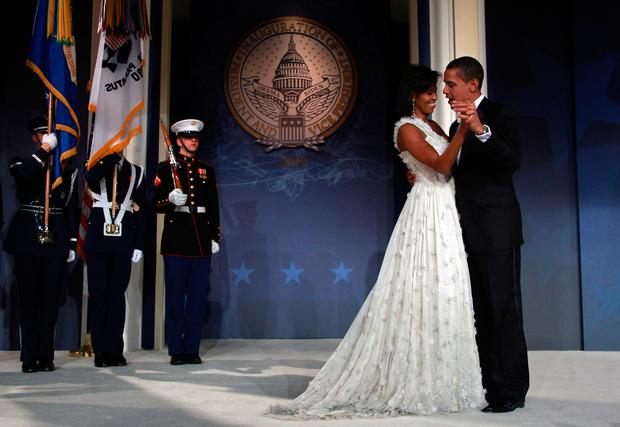Michelle Obama with husband Barack after his 2009 inauguration