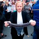 Protest: TD Ruth Coppinger joins the march against sexual violence against women this week. Picture: PA