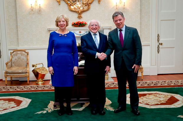 Juan Manuel Santos with President Higgins and his wife Sabina. Picture: Maxwells