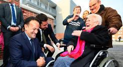 Meet the people: Anne Cooke (83) chats with Leo Varadkar and Housing Minister Eoghan Murphy at the opening the Dolphin House Project in Dublin. PHOTO: FRANK McGRATH