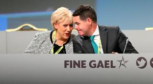Party: Business Minister Heather Humphreys chats to Finance Minister Paschal Donohoe before the start of the Fine Gael Ard Fheis in Citywest, Dublin. Photo: Frank McGrath