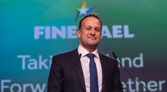 Taoiseach Leo Varadkar speaking at the 79th Fine Gael Ard Fheis in Citywest today Picture by Fergal Phillips.