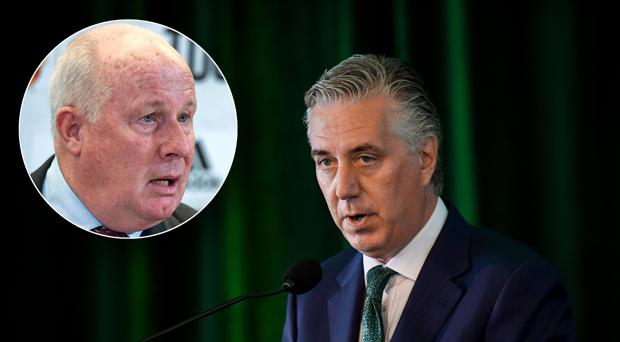 Liam Brady (inset) believes Irish football has regressed under John Delaney