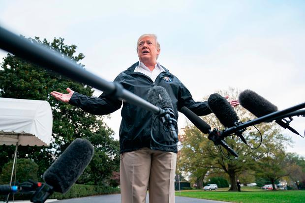 U.S. President Donald Trump speaks to the media before departing the White House for California, where he is scheduled to view damage from the state's wildfires, on November 17, 2018 in Washington, DC.(Photo by Jim Lo Scalzo-Pool/Getty Images)