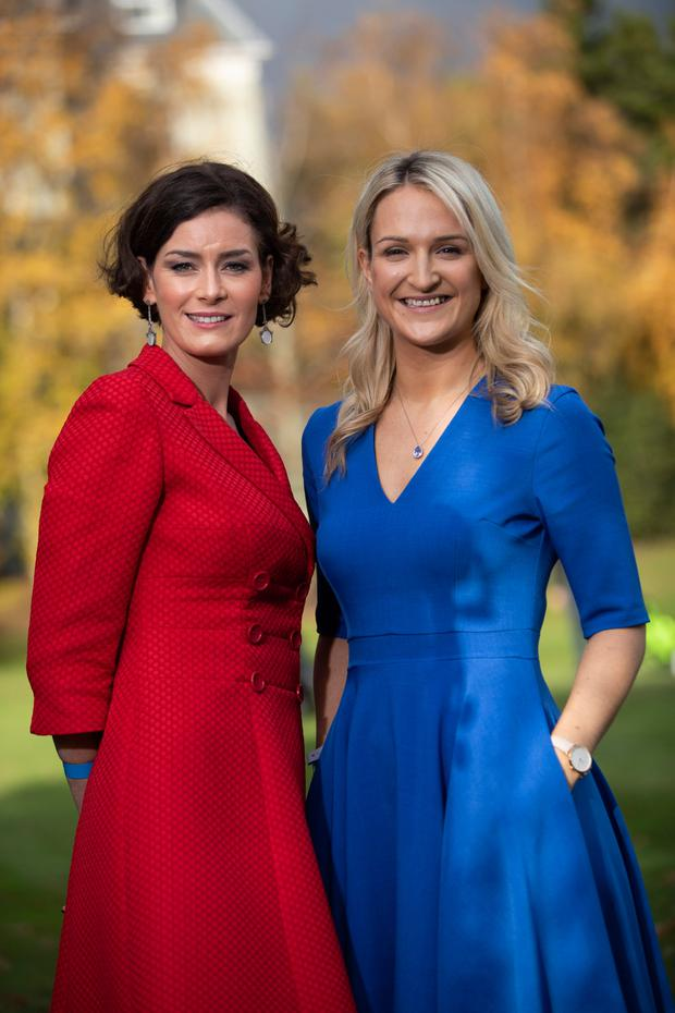 Fine Gael's Dublin Bay South TD Kate O'Connell, left, and European Affairs Minister and Meath East TD Helen McEntee at the party's 79th Ard Fheis yesterday. Photo: Fergal Phillips.