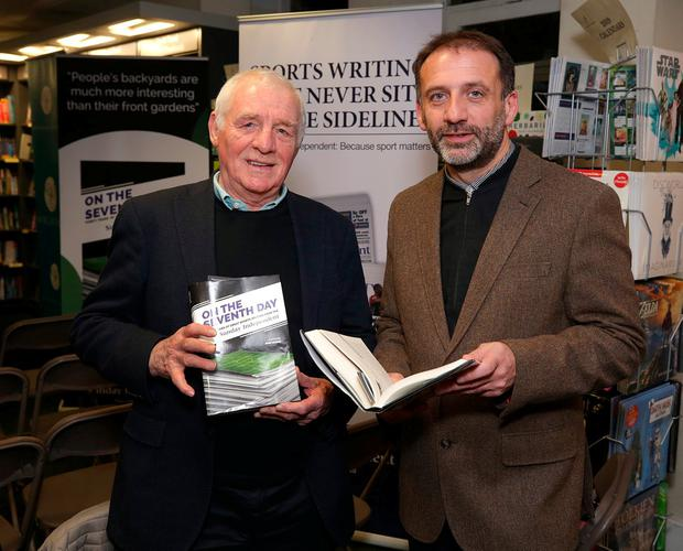 Eamon Dunphy and Sunday Independent sports editor John Greene at last week's launch of On The Seventh Day in Dublin. Photo: Damien Eagers / INM