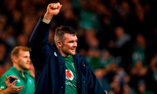 Peter O'Mahony of Ireland celebrates following the Guinness Series International match between Ireland and New Zealand at the Aviva Stadium in Dublin. Photo by David Fitzgerald/Sportsfile