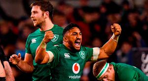17 November 2018; Bundee Aki of Ireland celebrates at the final whistle of the Guinness Series International match between Ireland and New Zealand at the Aviva Stadium in Dublin. Photo by Ramsey Cardy/Sportsfile