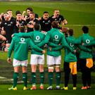 The haka is performed by New Zealand's All Blacks, led by captain Kieran Read, prior to the Guinness Series International match between Ireland and New Zealand at the Aviva Stadium in Dublin. Photo by David Fitzgerald/Sportsfile