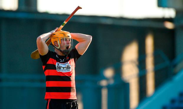 Brian O'Sullivan of Ballygunner reacts after missing a goal-scoring opportunity during the AIB Munster GAA Hurling Senior Club Championship Final between Na Piarsaigh and Ballygunner at Semple Stadium in Thurles, Co. Tipperary. Photo by Diarmuid Greene/Sportsfile