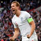 England's Harry Kane celebrates scoring their second goal. Action Images via Reuters/Carl Recine