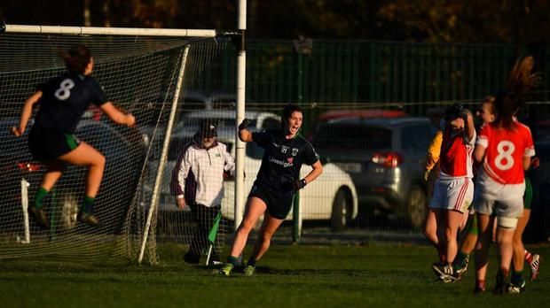 Róisín McGovern of Foxrock-Cabinteely, centre, celebrates after scoring her side's last minute winning goal against Donaghmoyne during the All-Ireland Ladies Senior Club Football Championship Semi-Final 2018 match between Foxrock-Cabinteely and Donaghmoyne at Bray Emmets GAA Club in Bray, Wicklow. Photo by Brendan Moran/Sportsfile