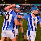 Ballyboden St Enda's players, from left, Conal Keaney, Collie Basquel and Finn McGarry celebrate following the AIB Leinster GAA Hurling Senior Club Championship semi-final match between Ballyboden St Enda's and Coolderry at Parnell Park, in Dublin. Photo by Sam Barnes/Sportsfile