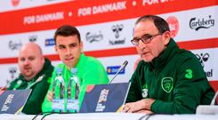 Republic of Ireland manager Martin O'Neill and Seamus Coleman during a Press Conference at Ceres Park in Aarhus, Denmark. Photo by Stephen McCarthy/Sportsfile