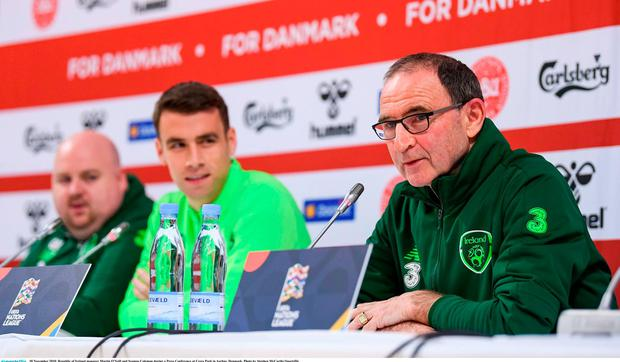 Republic of Ireland manager Martin O Neill and Seamus Coleman during a  Press Conference at 775f16cd6