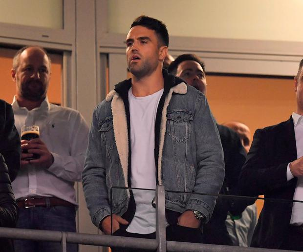 Conor Murray looks on from the stands during Ireland's victory. Photo: Brendan Moran/Sportsfile