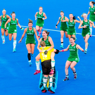 Glorious girls in green: Ireland's players celebrate after beating India on the way to claiming the silver medal at the Women's Hockey World Cup. Photo by Craig Mercer/Sportsfile