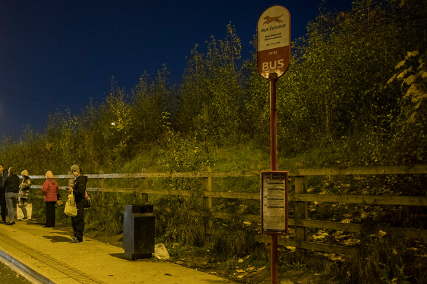 Gardai investigate an incident at a bus stop in Blanchardstown on Saturday night. Picture: Arthur Carron.