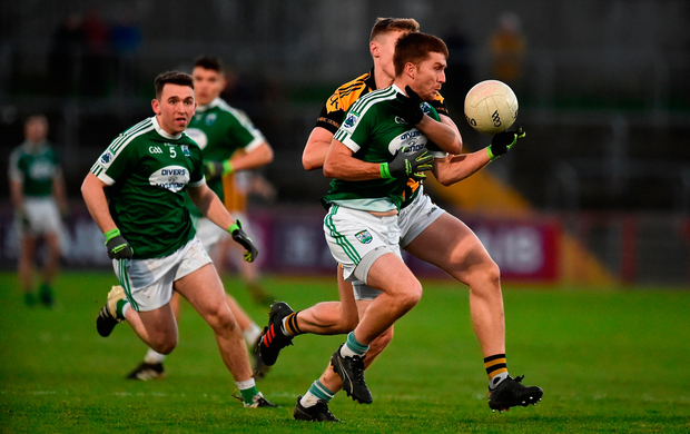 Christopher McFadden of Gaoth Dobhair in action against Oisin O'Neill of Crossmaglen Rangers. Photo by Oliver McVeigh/Sportsfile