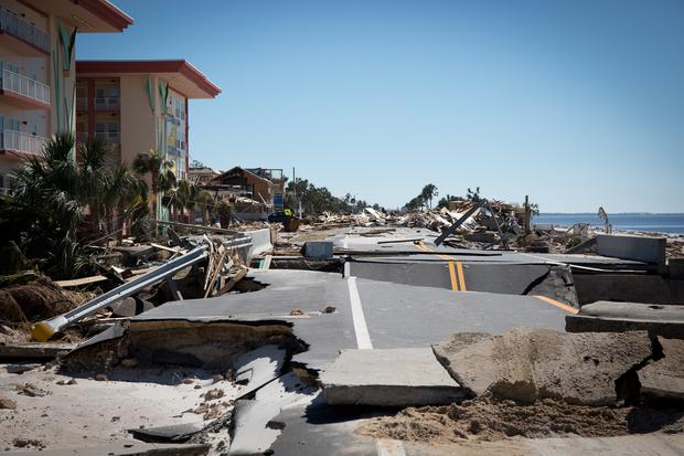 A collapsed bridge in Mexico Beach, Fla., two days after Hurricane Michael struck last month. Photo: Charlotte Kesl for The Washington Post via Getty Images