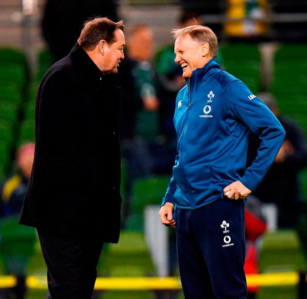 Steve Hansen and Joe Schmidt share a joke prior to Ireland's famous win at the Aviva Stadium. Photo: Ramsey Cardy/Sportsfile