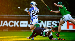 Collie Basquel of Ballyboden shoots to score his side's fifth goal despite the efforts of Coolderry's Stephen Corcoran and Stephen Connolly (right). Photo by Sam Barnes/Sportsfile