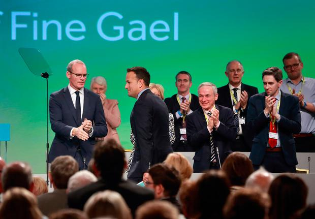Taoiseach Leo Varadkar makes his way to the podium before speaking at the opening of the Fine Gael Ard Fheis in Citywest. Photo: Frank McGrath