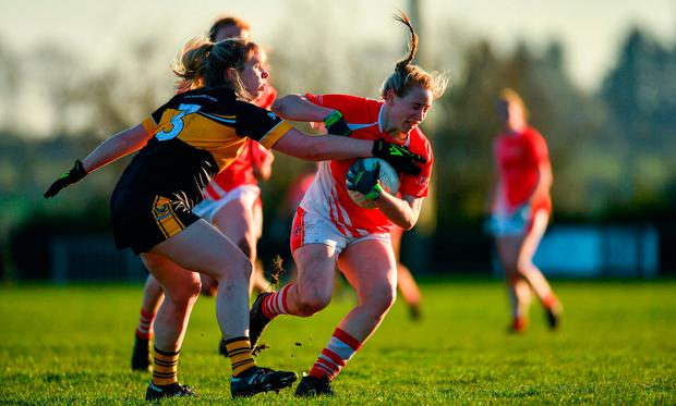 Sarah Gormally of Kilkerrin-Clonberne in action against Cathy Ann Stack of Mourneabbey. Photo by Eóin Noonan/Sportsfile