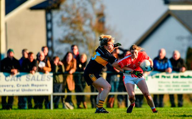 Annette Clarke of Kilkerrin-Clonberne in action against Cathy Ann Stack of Mourneabbey. Photo by Eóin Noonan/Sportsfile