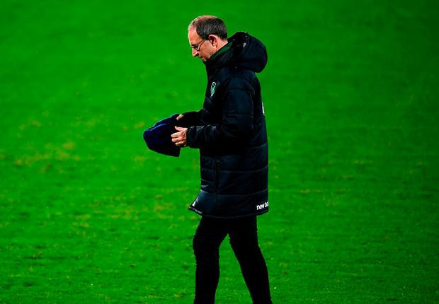 Penny for your thoughts: Martin O'Neill in pensive mood before Ireland's training session in Aarhus. Photo: Stephen McCarthy/Sportsfile
