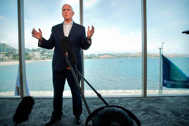 Warning: US Vice-President Mike Pence in Port Moresby. AP Photo/Mark Schiefelbein