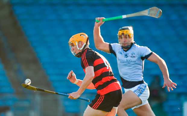 Peter Hogan of Ballygunner in action against Thomas Grimes of Na Piarsaigh. Photo by Diarmuid Greene/Sportsfile