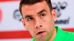 Captain's call: Seamus Coleman wants Ireland's players to 'man up' tonight. Photo: Stephen McCarthy/Sportsfile