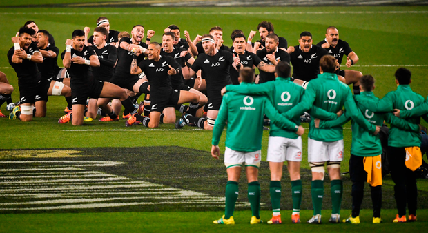 Haka Can: Ireland players stand shoulder to shoulder against New Zealand's pre-match haka prior to Saturday's famous victory. Photo: David Fitzgerald/Sportsfile