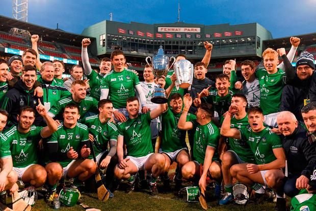 Limerick players celebrate with the Players Champions Cup and the Liam MacCarthy Cup after the Fenway Hurling Classic 2018 Final match between Cork and Limerick at Fenway Park in Boston, MA, USA. Photo by Piaras Ó Mídheach/Sportsfile