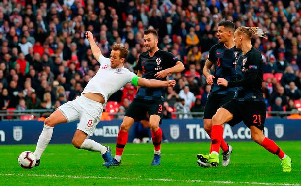 Harry's game: Crotia's players can only look as Harry Kane scores the winner for England at Wembley. Photo by Catherine Ivill/Getty Images