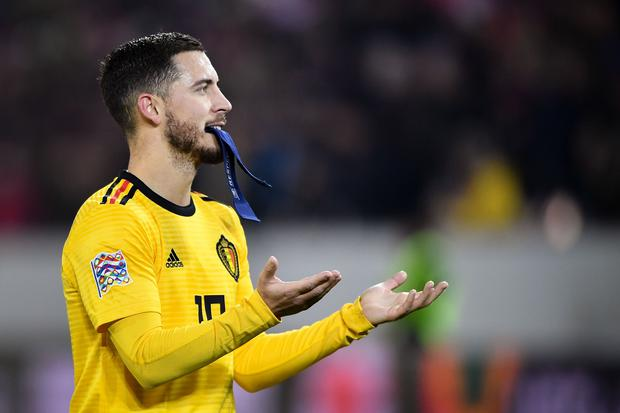 Belgium's forward Eden Hazard reacts at the end of the UEFA Nations League, league A, group 2 football match between Switzerland and Belgium at the Swissporarena stadium in Lucerne, on November 18, 2018. (Photo by Fabrice COFFRINI / AFP) (Photo credit should read FABRICE COFFRINI/AFP/Getty Images)