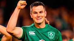 Green giants: Johnny Sexton after the match. Photos: Sportsfile/Douglas O'Connor