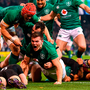 Green giants: Ireland players celebrate Jacob Stockdale's try. Photos: Sportsfile/Douglas O'Connor