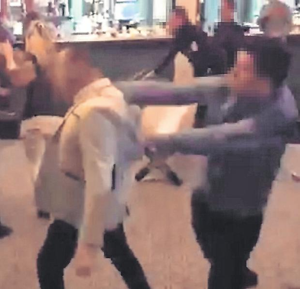 Blow: A still image taken from a video of the brawl in Shannon