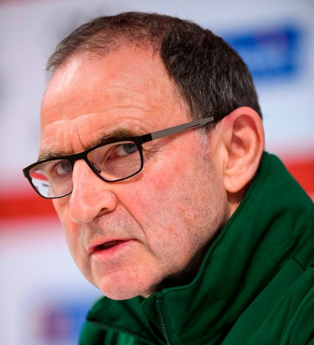 Republic of Ireland manager Martin O'Neill during a Press Conference at Ceres Park in Aarhus, Denmark. Photo by Stephen McCarthy/Sportsfile