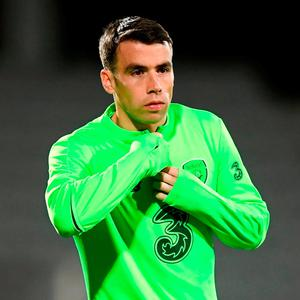 Seamus Coleman during a Republic of Ireland training session at Ceres Park in Aarhus, Denmark. Photo by Stephen McCarthy/Sportsfile